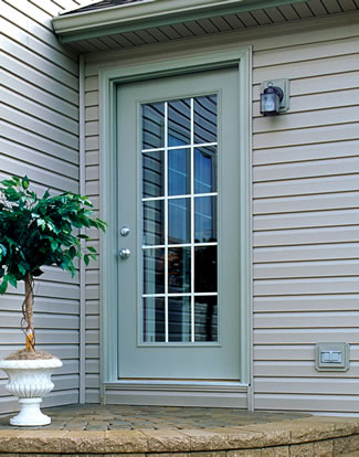 Brennan exteriors steel fiberglass replacement entry for Exterior back doors with glass